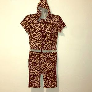 Leopard Print Girls Tops and Shorts Set
